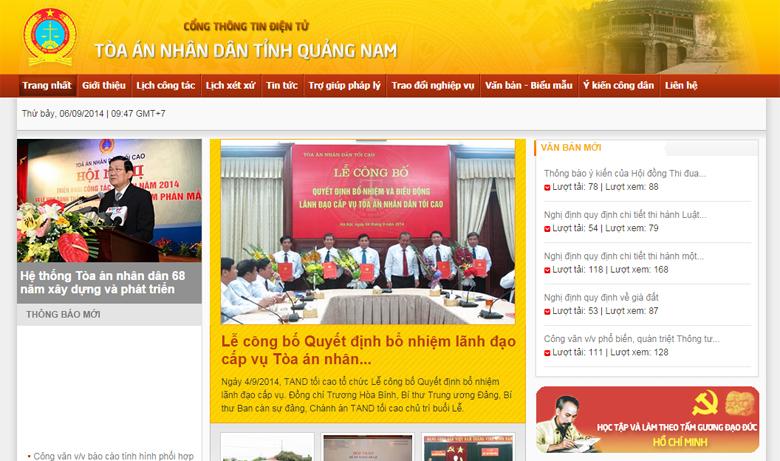 Thiết kế web cổng thông tin điện tử Tòa án tỉnh Quảng Nam