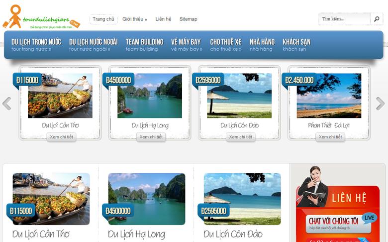 Thiết kế web du lịch Tourdulichgiare.net